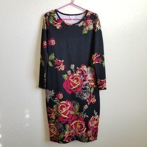 Lularoe Elegant Debbie Dress Floral Rose Print L